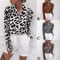 Blusa de Estampado de Leopardo de Polo Escote Manga Larga