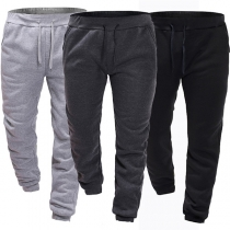 Fashion Solid Color Drawstring Waist Men's Sports Pants