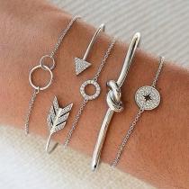 Fashion Rhinestone Inlaid Arrow Knotted Bracelet Set 5 pcs/Set
