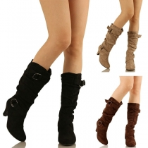 Fashion Thick Heel Round Toe Boots