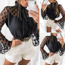 Sexy Dots Printed Trumpet Sleeve Lace-up Ruffle Stand Collar Blouse