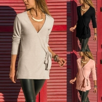 Fashion Solid Color Long Sleeve V-neck Lace-up Cardigan