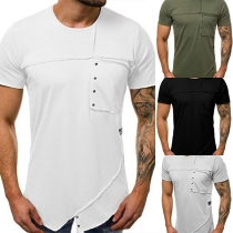 Chic Style Short Sleeve Round Neck Solid Color Men's T-shirt