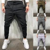 Pantalón Casual de Talle Elástico con Tiras de Caballero