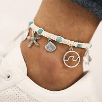 Fashion Starfish Shell Pendant Braided Anklet