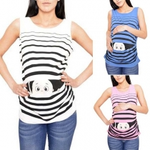 Cute Cartoon Printed Round Neck Tank Top for Pregnant Women
