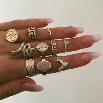Pack de 10 Anillos en Diseños Distintos de Tono Dorado