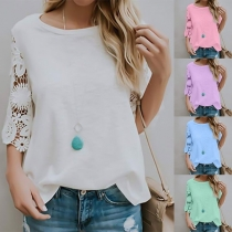 Fashion Lace Spliced 3/4 Sleeve Round Neck Solid Color Top