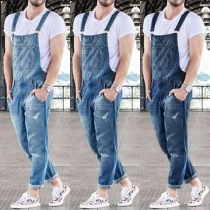 Fashion Ripped Relaxed-fit Men's Denim Overalls