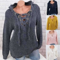 Fashion Solid Color Lace-up V-neck Hooded Sweater