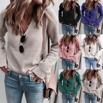 Simple Style Long Sleeve V-neck Solid Color Sweater