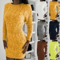 Vestido Suéter de Escote Redondo Manga Larga