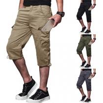 Crop Pantalón con Bolsillos de Caballero