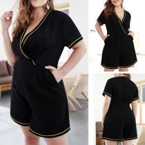 Sexy V-neck Short Sleeve Contrast Color Plus-sized Romper
