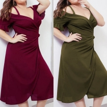 Sexy Off-shoulder V-neck Short Sleeve Plus-size Sling Dress