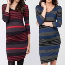 Fashion Long Sleeve Round Neck Slim Fit Striped Maternity Dress