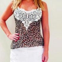 Fashion Leopard Lace Spliced Sleeveless Tops