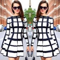 Fashion Long Sleeve Round Neck Slim Fit Plaid Dress