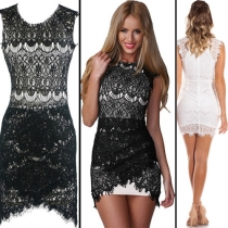 Fashion Round neck Sleeveless Slim Fit Lace Dress