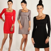 Fashion Solid Color Square Collar High Waist Dress