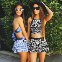 Sexy Backless Tops + Shorts Elephant Print Two-piece Set