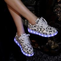 Sneaker Estampado de LED Colorido Para Parejas