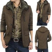 Abrigo con Capucha Caliente Para Hombres Larga Manga Color Sólido