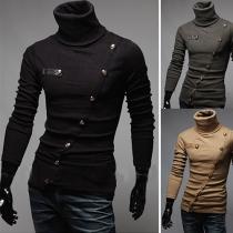 Suéter de Tejido de Punto de Escote Alto con Botonadura de Manga Larga