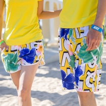 Fashion Floral Letters Printed Couple Shorts