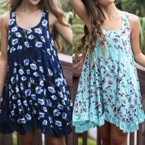 Fashion Style Sleeveless Lace Hem Floral Print Chiffon Maternity Dress