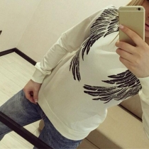 Fashion Round Neckline Long Sleeves Wing Print Sweatshirt