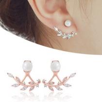 Pendientes Elegante de Rhiestone con Perlas Sintética en Forma de Hoja