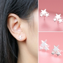 Fashion Elegant Star Pentagram Shaped Stud Earring