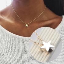 Collar con Colgante de Estrella en Tono Dorado/Plataeado