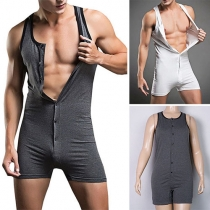 Fashion Solid Color Sleeveless Round Neck Men's Sports Romper