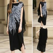 Bohemian Style Lotus Sleeve Round Neck Irregular Hem Printed Dress