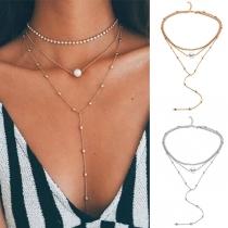 Moderno Collar de Múltiples Capas con Incrustaciones de Perlas y Diamantes de Imitación con Colgante