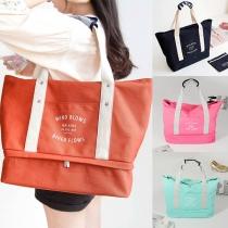Moderna bolsa de lona al hombro, de gran capacidad y colores de contraste