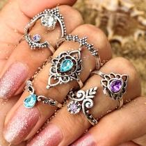Set de anillos con colores e incrustaciones (7 piezas)