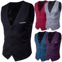 Chaleco de color sólido sin mangas y cuello en V para hombres