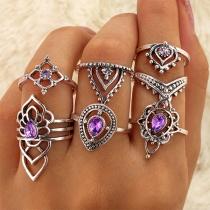 Set de 7 anillos estilo retro decorados con diamantes de imitación