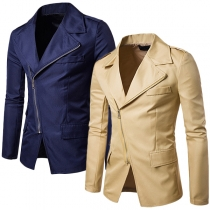 Blazer de color sólido con mangas largas y cremallera oblicua para hombres
