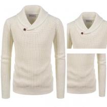 Moderno Suéter de Color Liso con Manga Larga y Cuello de Solapas Para Hombre