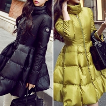 Fashion Solid Color Long Sleeve Stand Collar Puff Hem Padded Coat