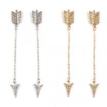 Fashion Rhinestone Inlaid Arrow Shaped Earrings