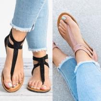 Sandalías Simple de Correas con Rhinstones Tacón Plano