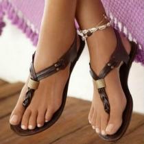 Sandalías Planas de Tira con Nudo Decorativo en Piel Sintético