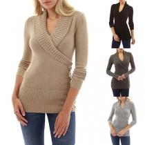 Suéter Ceñido de Tejido de Punto con Solapa de V Cuello Manga Larga