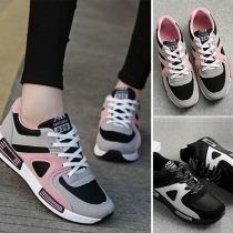 Sports Style Contrast Color Flat Heel Lace-up Sneakers