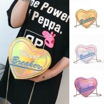 Fashion Embroidered Letters Heart-shaped Shoulder Messenger Bag